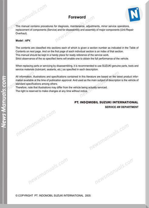 Suzuki Apv Service Manual 1