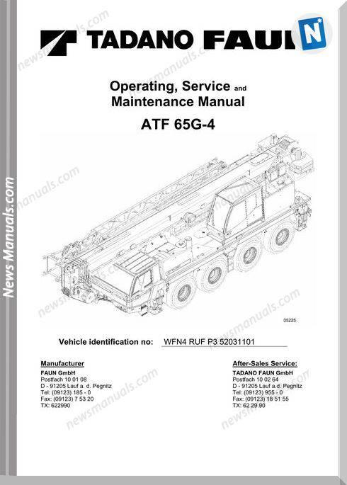 Tadano Atf 65G-4 Operators Service Maintenance Manual