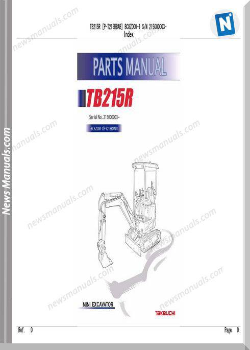 Takeuchi 215 P-T215Rbab Compact Excavator Parts Manual
