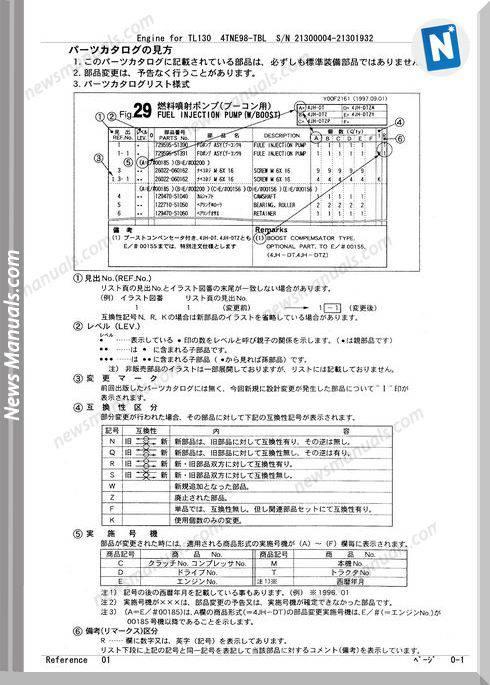 Takeuchi 4Tne98-Tbl Crawler Loader Tl130 Parts Manual