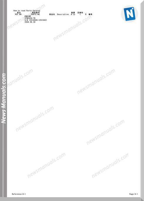 Takeuchi Engine For Tb125 Fr Parts Manual