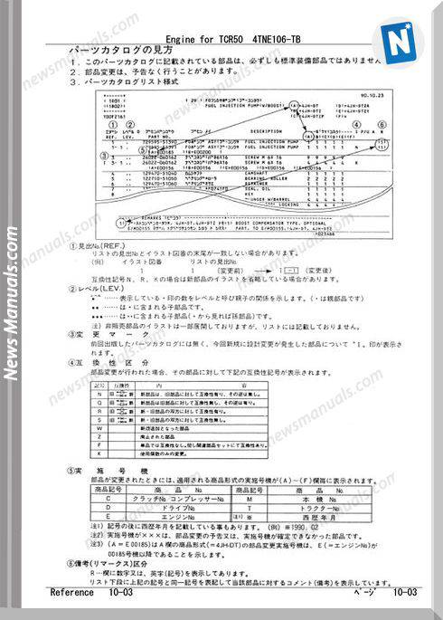 Takeuchi Engine For Tcr50 Models Parts Manual