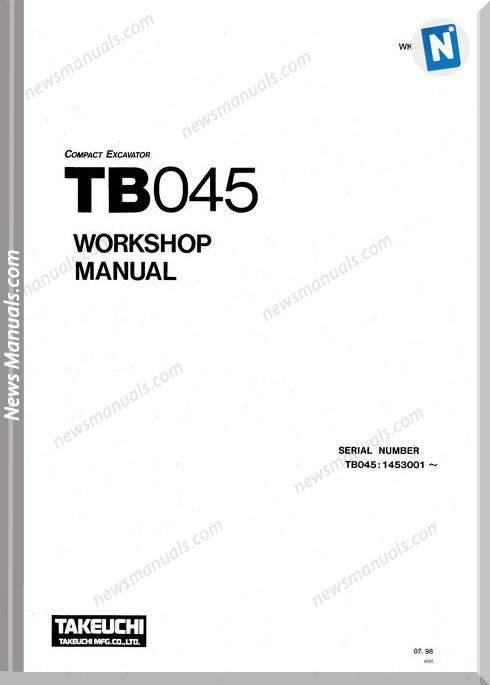 Takeuchi Excavator Tb045 Wk2-101E2 Workshop Manual