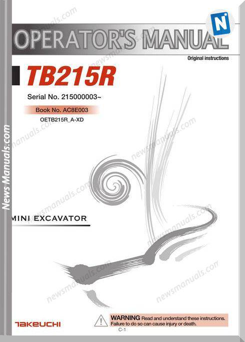 Takeuchi Mini Excavator Tb215R Operators Manual