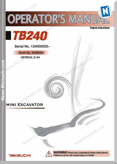 Takeuchi Mini Excavator Tb240 Operator Manual