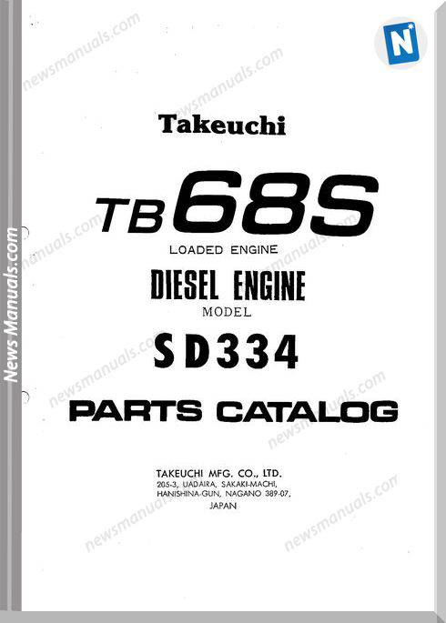 Takeuchi tb 68S Engine Parts Manual
