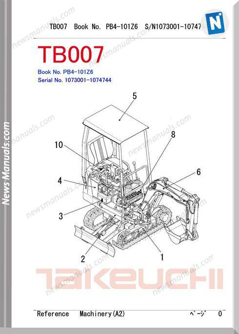 Takeuchi Tb007 Models Pb4-101Z6 Parts Manual