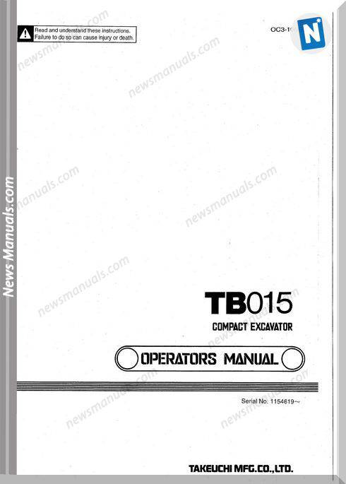 Takeuchi Tb015 Models Oc3-106E0 Operators Manual