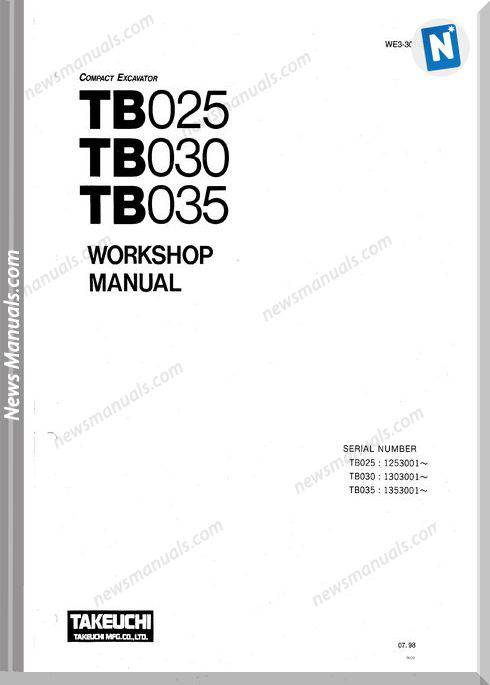 Takeuchi Tb025 030 035 Models We3-301E2 Workshop Manual