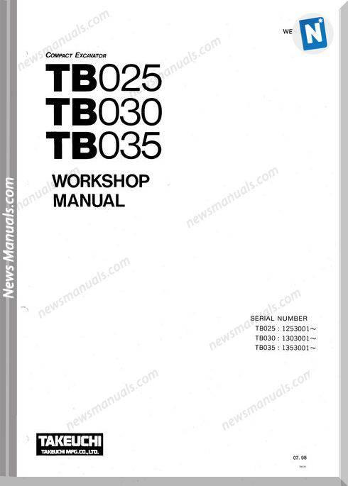 Takeuchi Tb025030035-E (We3-301E2) Workshop Manual