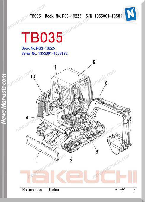 Takeuchi Tb035 Models Pg3-102Z5 Parts Manuals