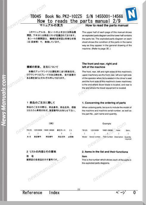 Takeuchi Tb045 Models 102z5 Eng Jp Parts Manual