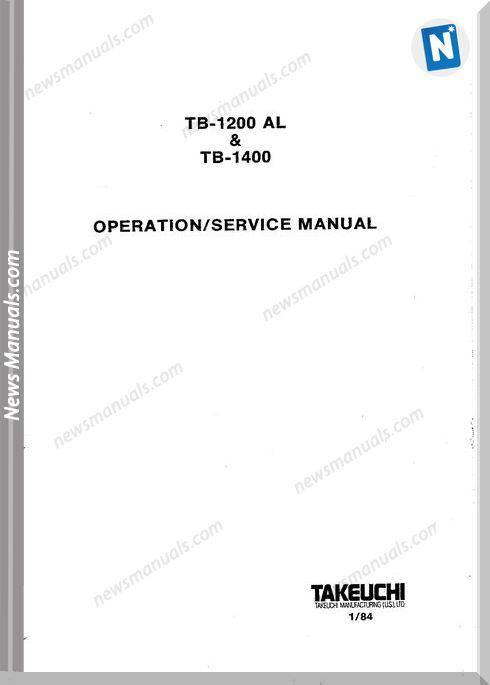 Takeuchi Tb1200Al Tb1400 Models 1984 Service Manual