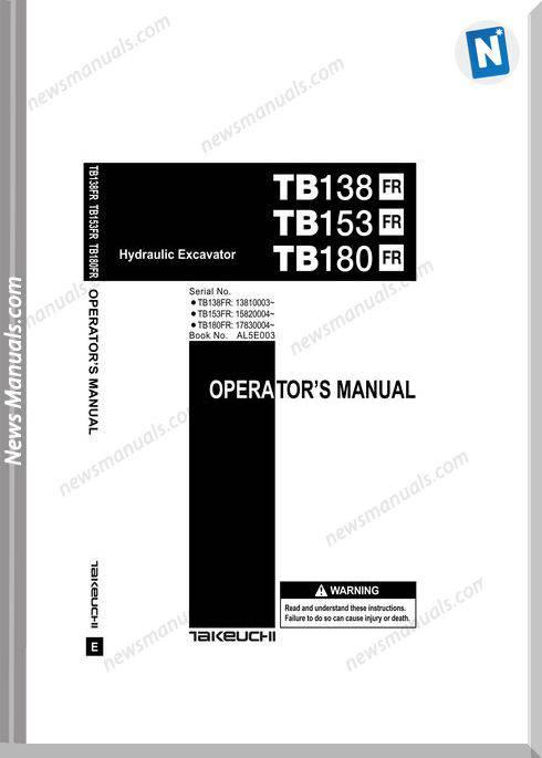 Takeuchi Tb138 153 180Fr Al5E003 Operators Manual