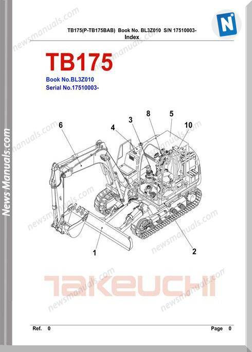 Takeuchi Tb175 Models No Bl3Z010 Parts Manuals