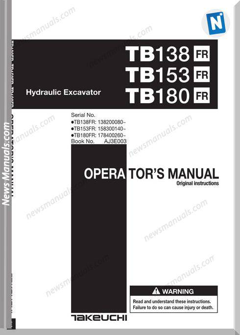 Takeuchi Tb180Fr 153 180 Aj3E003 It4 Operators Manual