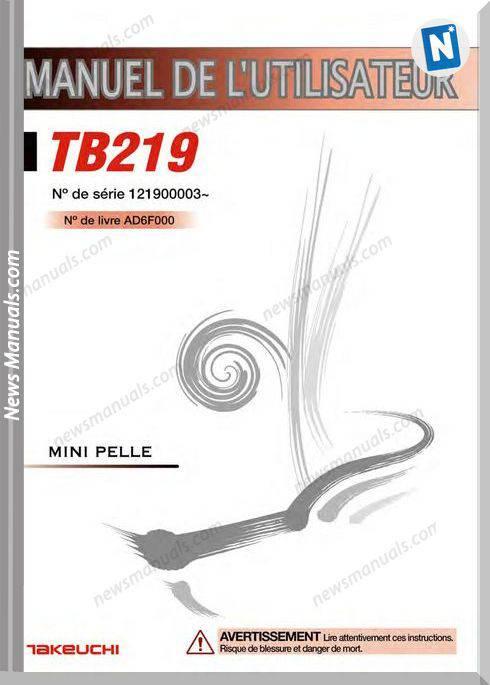 Takeuchi Tb219 Ad6F000 French Language Operators Manual