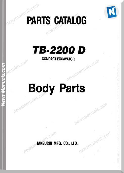 Takeuchi Tb2200D Models Body Parts Catalogue