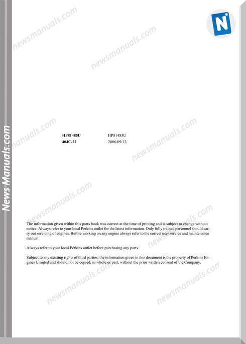 Takeuchi Tw50 Engine Models Hp81485U Parts Manual