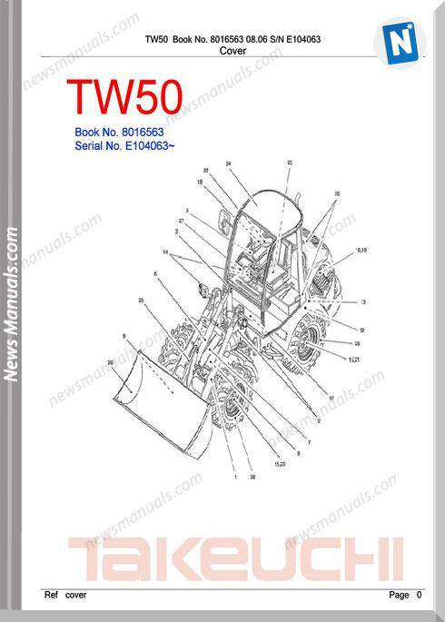 Takeuchi Tw50 Models 8016563 Sn E104063 Part Manual