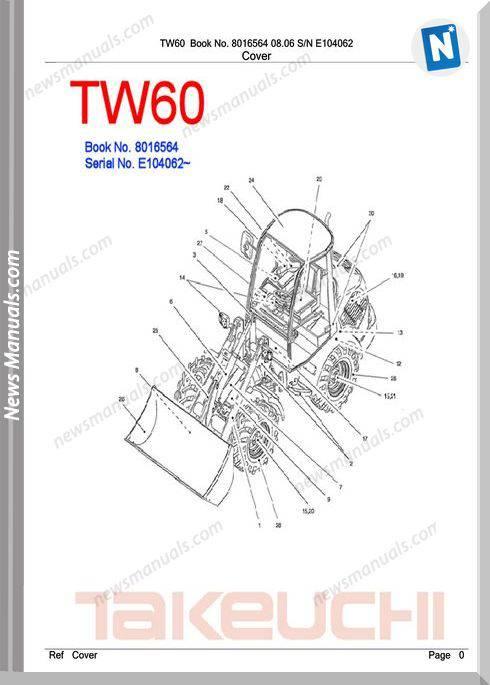 Takeuchi Tw60 Models 8016564 Sn E104062 Part Manual