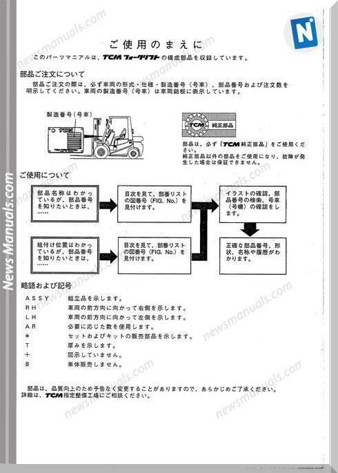 Tcm Fg15C9H Fg15T9H Fg18C9H-T9H Fd15C9H-T9H Fd18 Parts