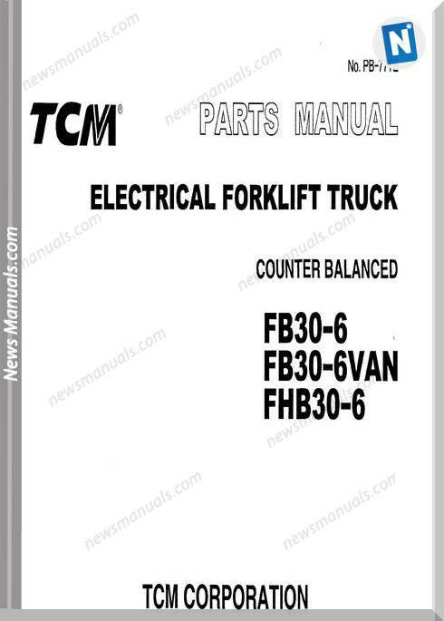 Tcm Forklift Fb30 6, Fhb30 6 Parts Manual