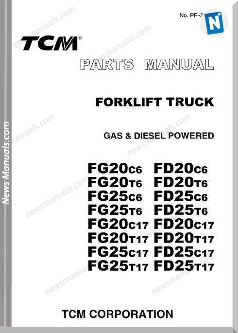 Tcm Forklift Fg20C6,Fd20C6 English Parts Manual