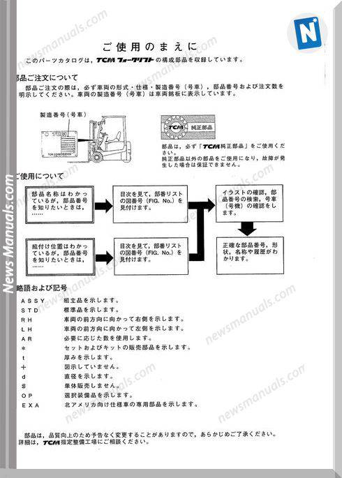 Tcm Forklift Ftb16 7 Ftb18 7 Models Parts Manual