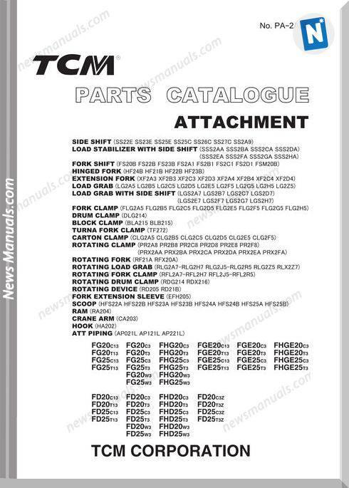 Tcm Truck Fg20C13-Fhd25W3 Attachment Parts Catalog
