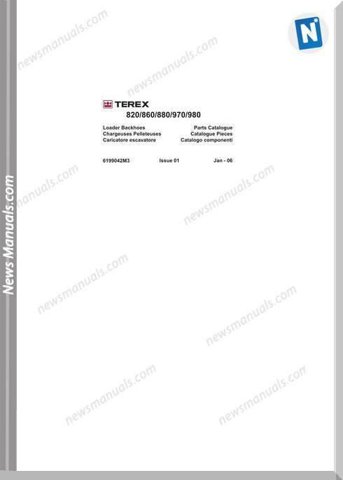 Terex 820,860,880,970,980 Loaders Backhoes Parts Manual