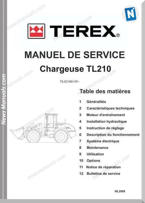 Terex Chargeuse Tl210 De Language Service Manual