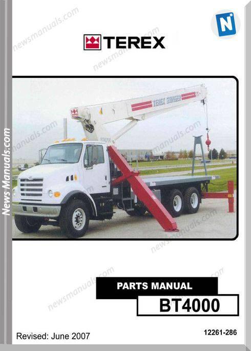 Terex Cranes Bt4000 Boom Trucks Parts Manual