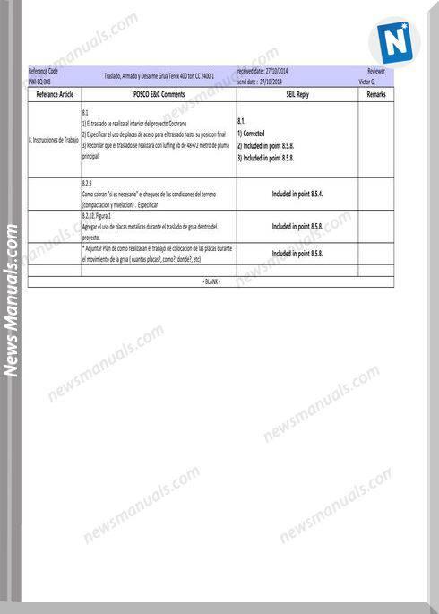 Terex Crawler Crane Cc2400-1 400 Ton Instruction Manual