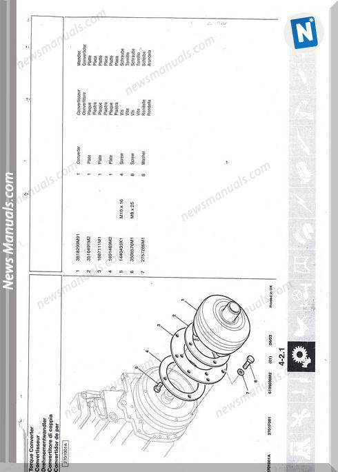 Terex Mf860 Models Transmission English Parts Catalogue