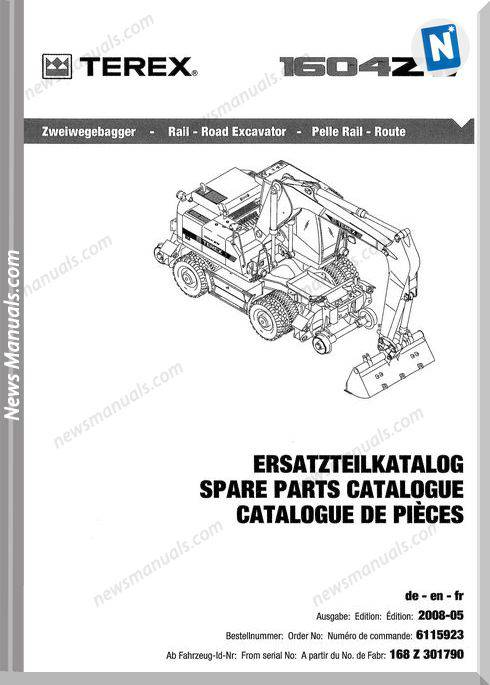 Terex Mini Wheeled Excavator E-Liste 1604Zw Part Manual