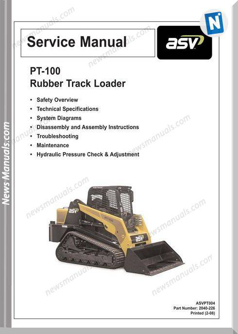 Terex Pt-100 Rubber Track Loader Complet Service Manual