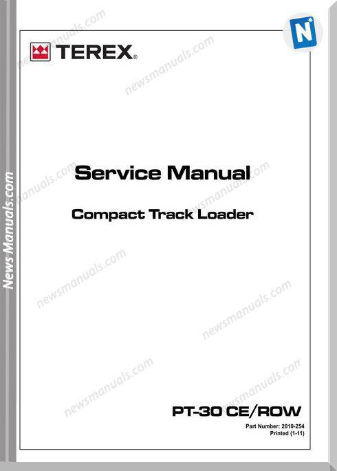 Terex Pt-30Ce Row Compact Track Loader Service Manual