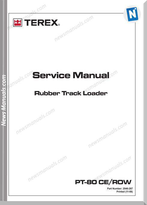 Terex Pt80 Ce Row Rubber Track Loader Service Manual
