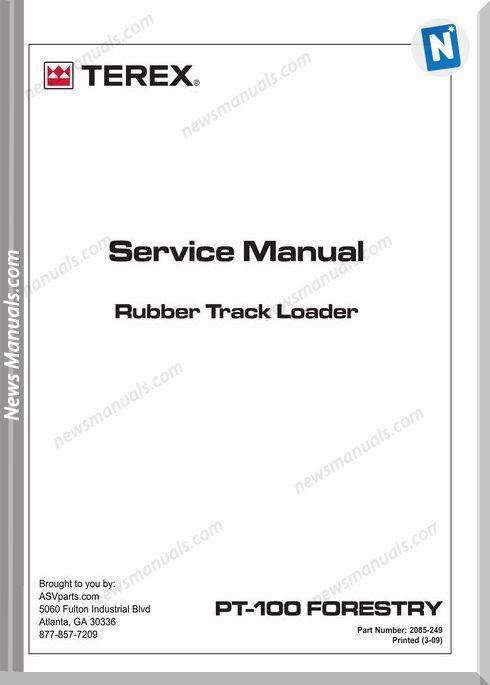 Terex Rubber Track Loader Pt100 Forestry Service Manual