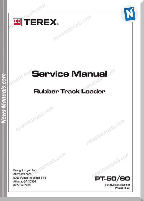 Terex Rubber Track Loader Pt50,60 Service Manual