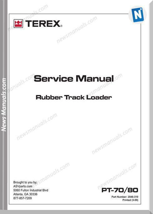 Terex Rubber Track Loader Pt70,80 Service Manual