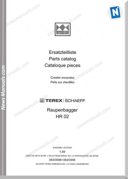Terex Schaeff Hr02-El-0696 Parts Catalog