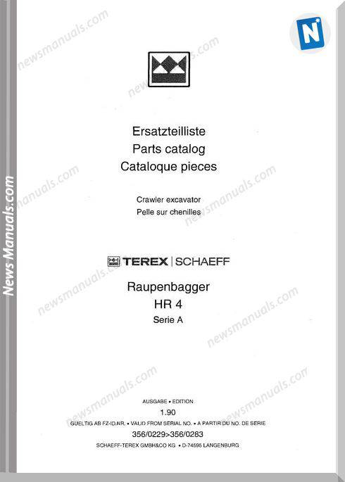 Terex Schaeff Hr4A-3560229 Bis 3560283 Parts Catalog