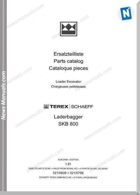 Terex Schaeff Skb800-El-0609 Parts Catalog