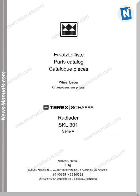 Terex Schaeff Skl301A-El-0255 Parts Catalog