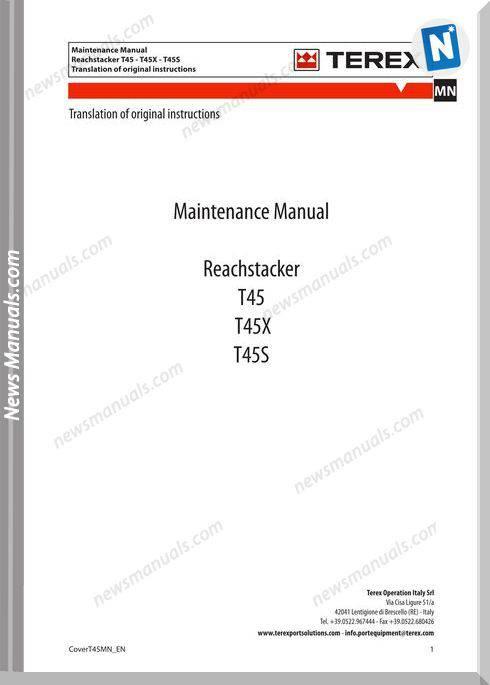 Terex T45 T45X T45S Maintenance Manual