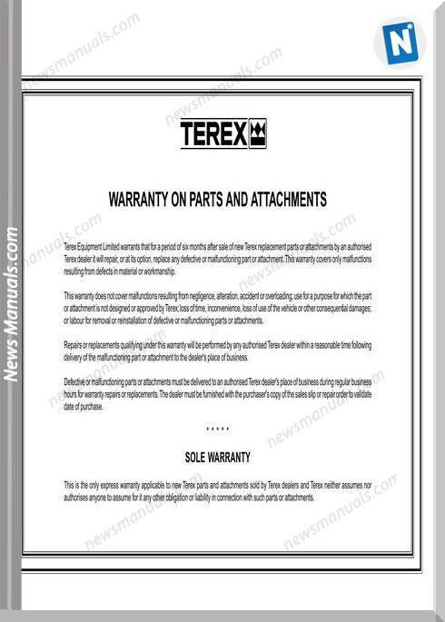 Terex Ta30 Articulated Coal Hauler Parts Book