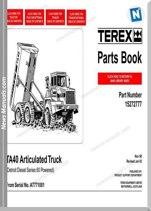 Terex Ta40 Articulated Truck Parts Book