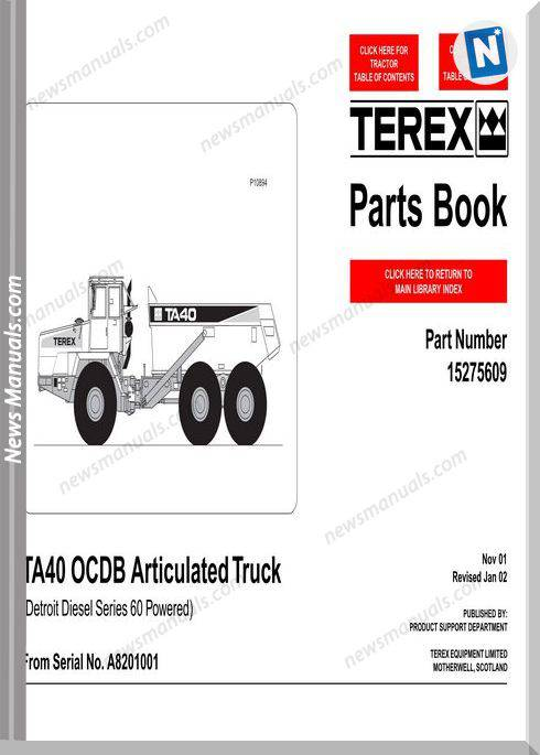Terex Ta40 Ocdb Articulated Truck Parts Book